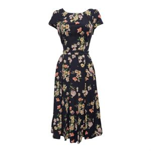 New Navy Blue Floral WWII 1930's 40's Vtg style Swing Tea Dress